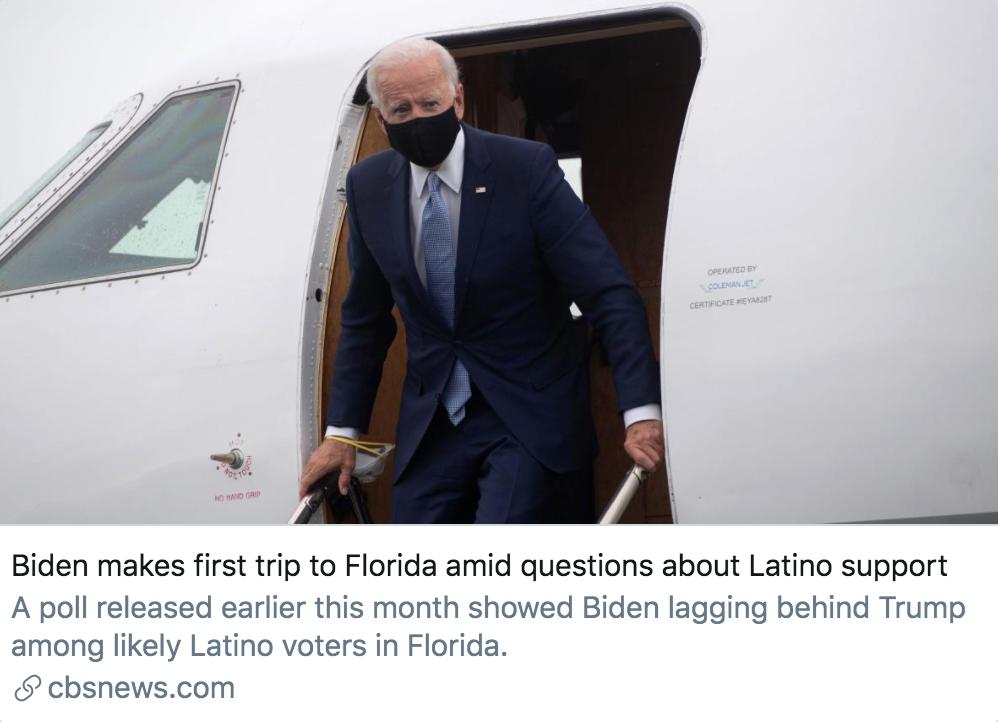 拜登首次访问佛罗里达州。/哥伦比亚广播公司报道截图