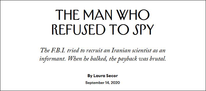 """伊朗教授拒当FBI间谍后 被""""诱骗""""回美国无端关押三年"""