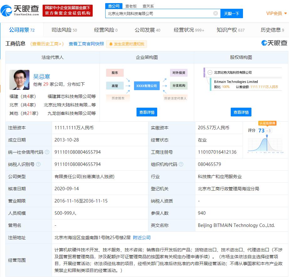 北京比特大陆科技有限公司法定代表人由詹克团变更为吴忌寒