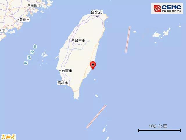 台湾台东县海域发生4.3级地震
