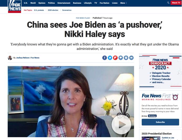"""卸任了,也没影响她""""扛着中国""""维护特朗普图片"""