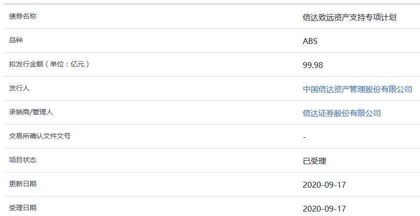 中国信达99.98亿元ABS获上交所受理