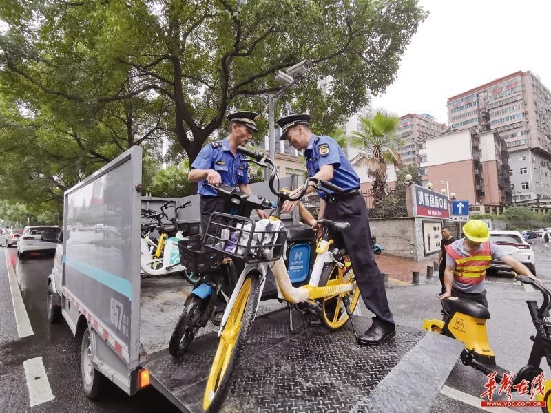 9月16日上午,城管执法队员在长沙芙蓉中路清运乱停放的共享单车。 记者 杨洁规 摄