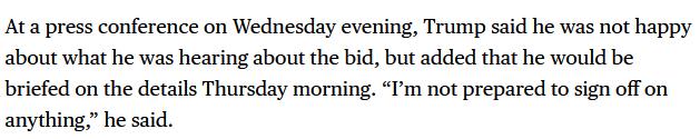 特朗普:不满意TikTok与甲骨文拟定的协议 不准备签署