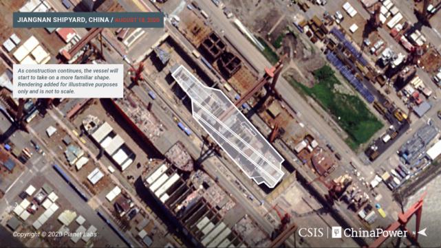 """资料图:美媒公开的正在建造中的""""002型""""航母卫星照"""