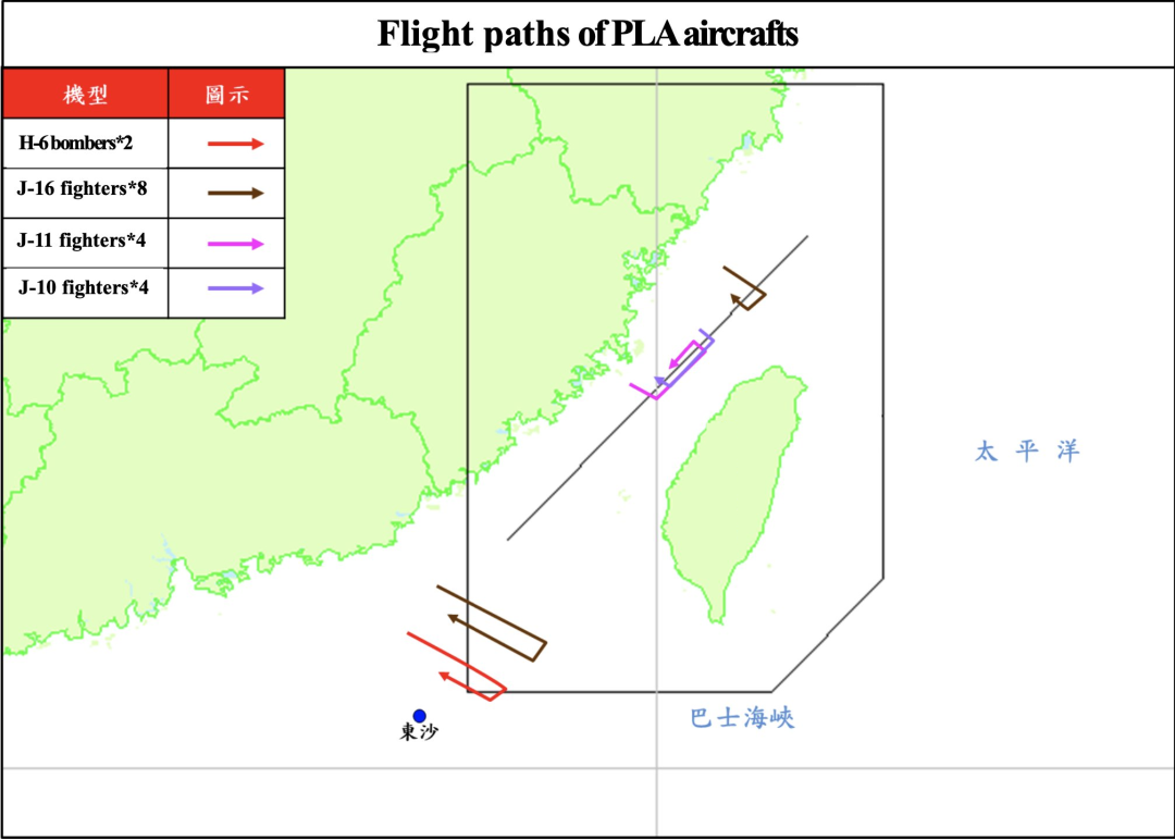 歼-16从南部、北部进入台军空域、歼-10和歼-11进入台湾中北部空域,轰-6进入台湾南部空域 图源:台军
