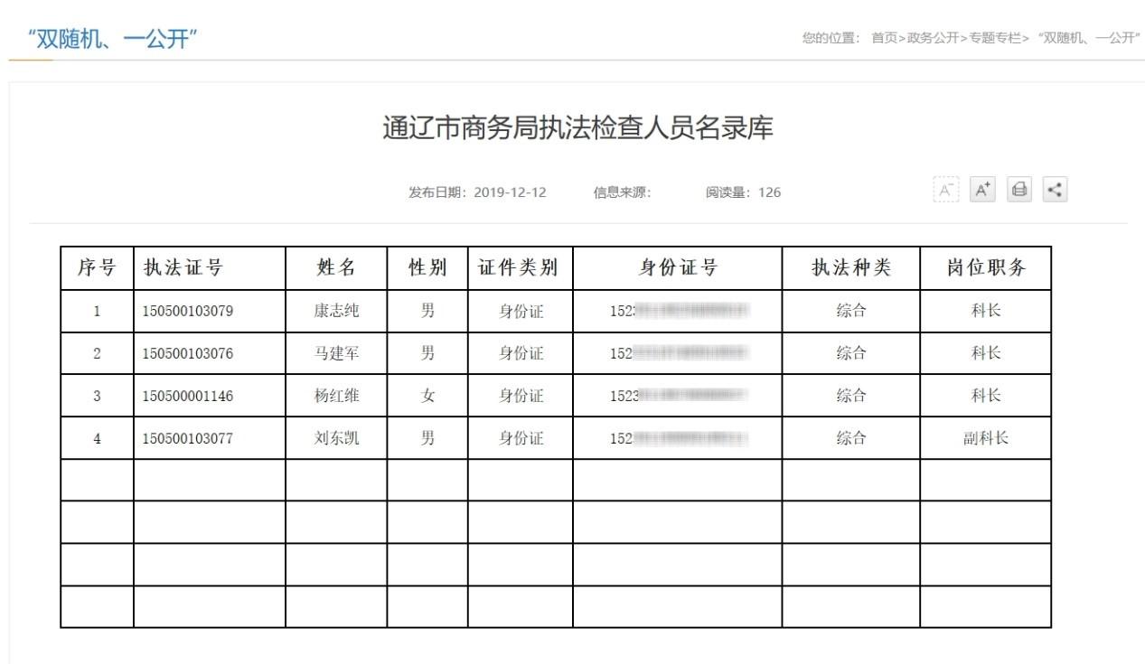 内蒙古通辽商务局回应泄露执法人员身份证号:工作需要图片