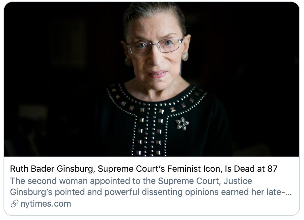 美国最高法院女权主义标志性人物金斯伯格去世。/《纽约时报》报道截图