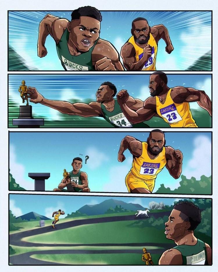 詹字赛跑!美媒晒趣味漫画描述詹姆斯字母哥MVP之争