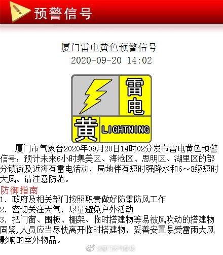 岛内外多地将有雷雨 厦门市气象台发布雷电黄色预警信号