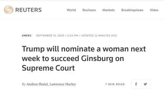 特朗普说起大法官接任者:比起男性,我更喜欢女性图片
