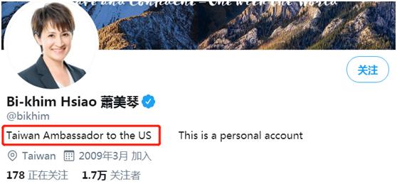 """萧美琴推特将简介改为""""台湾驻美大使"""""""