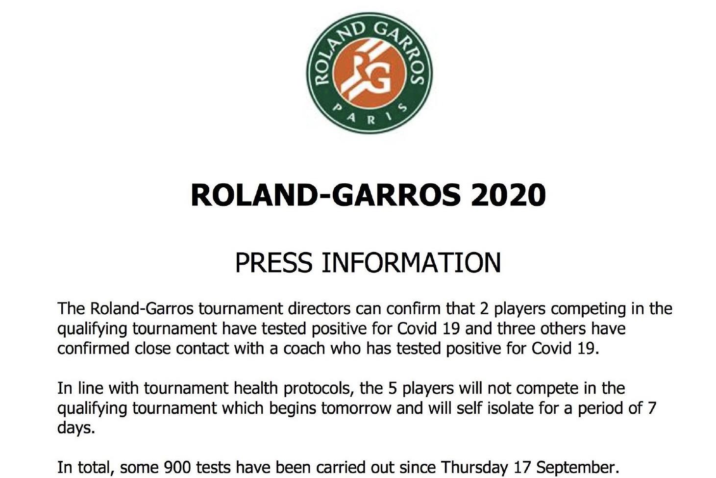 法网宣布5名球员因疫情退赛。网络截图