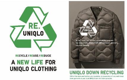 优衣库推出首款100%回收材料制作的羽绒夹克