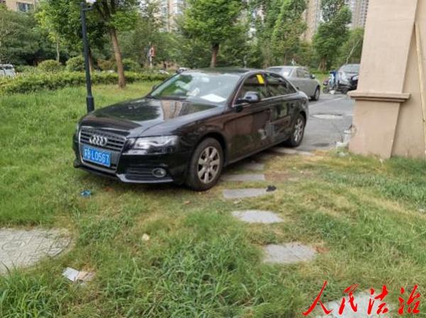 江苏锡山城管对占压绿地停车说不 172名当事人被依法处罚