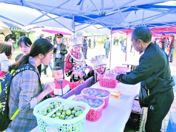 首届湖潮乡农民丰收节举行 特色农产品受游客青睐