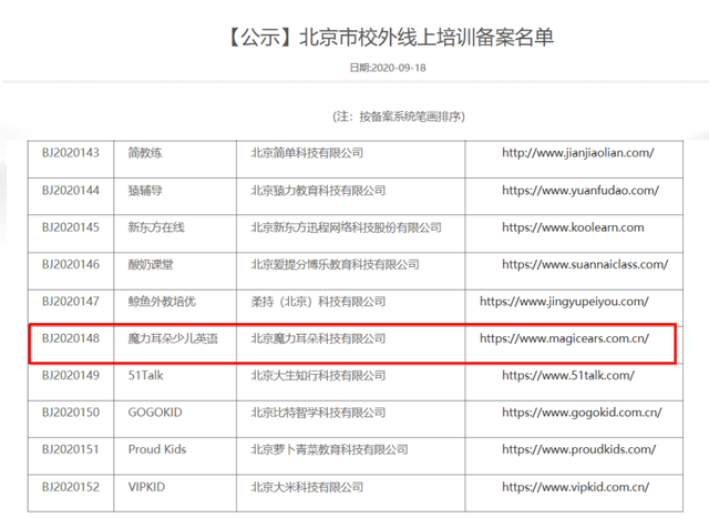 北京市校外线上培训备案名单发布