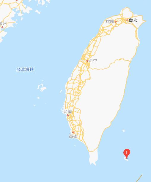 台东南部兰屿岛位置