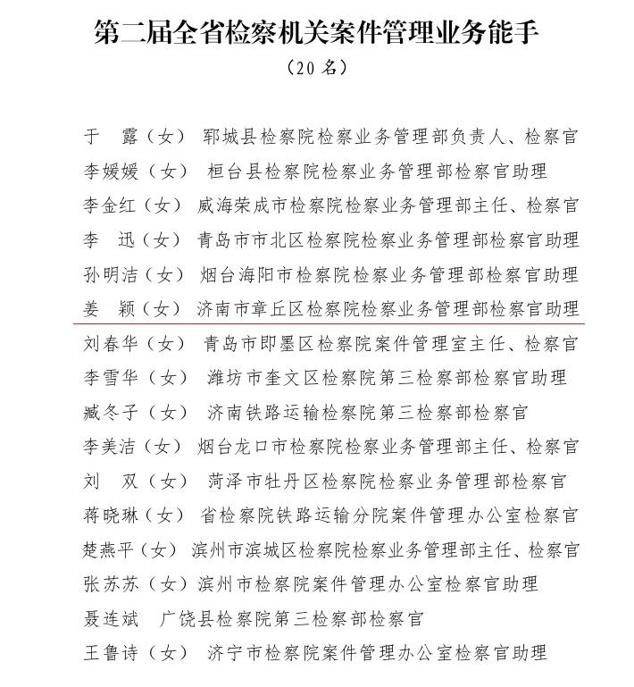 【微人物】恪尽职守 不忘初心 ——全省检察机关案件管理业务能手姜颖