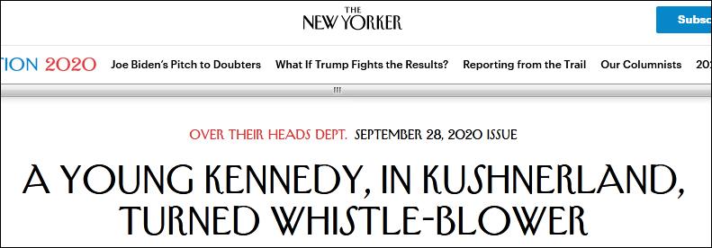 特朗普女婿的防疫团队 被肯尼迪家族成员给举报了