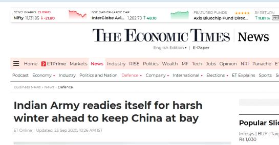 印度《经济时报》:印军为迎接严冬做好准备,以牵制中国