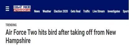 """突发!美国""""空军二号""""撞了一只鸟"""