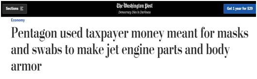 《华盛顿邮报》:五角大楼本应用纳税人的钱生产口罩和棉签,结果却用来制造喷气式飞机零件和防弹衣