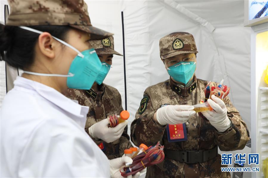 中国工程院院士陈薇(右)在搭建的负压帐篷实行室查抄血清星散(3月26日摄)。新华社发(张振威 摄)