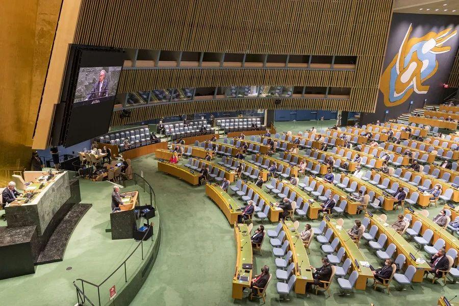 联合国大会现场,图自新华网