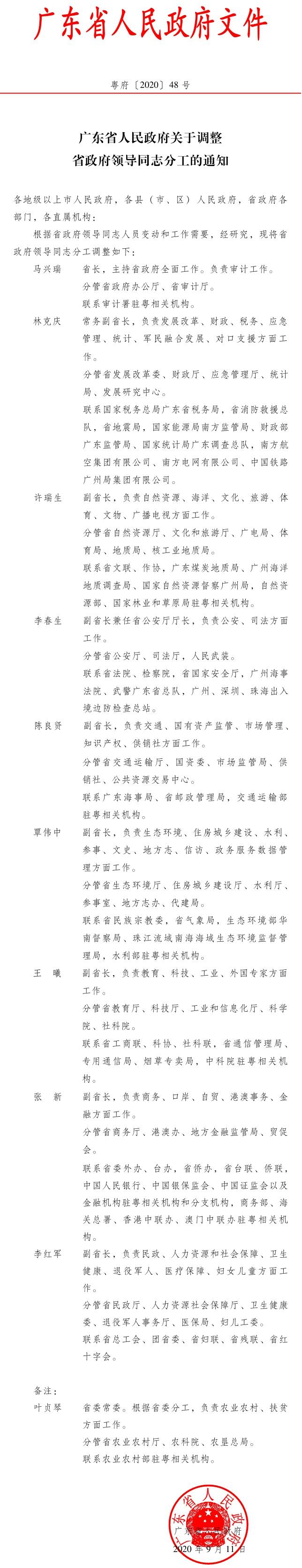 广东省政府领导分工调整 李红军负责民政、卫生健康等工作图片