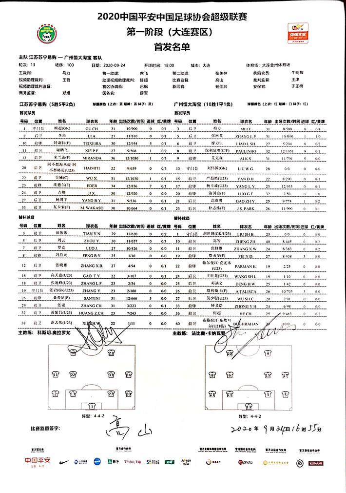 江苏vs恒大:特谢拉PK艾克森,塔利斯卡替补