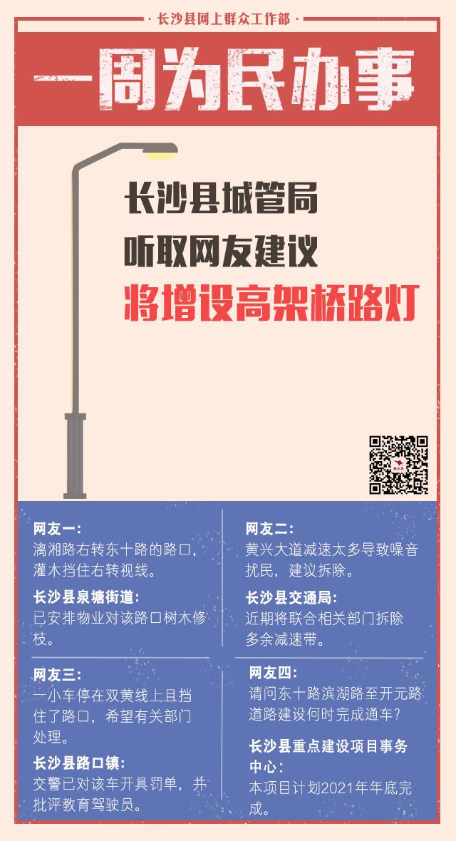 一周为民办事| 长沙县城管局听取网友建议将增设高架桥路灯