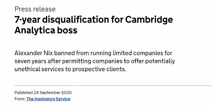 """前剑桥分析老板接受英国政府高管禁令,依旧强调""""未触犯法律"""""""