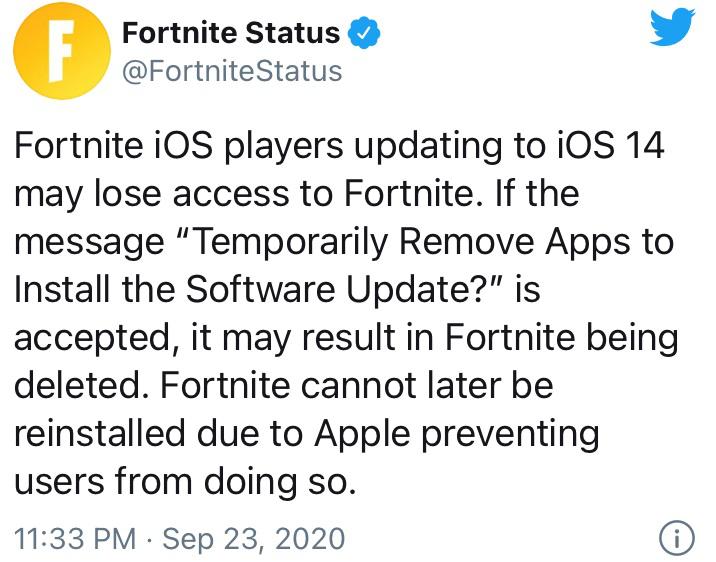 Epic 再战苹果:更新 iOS 14 或导致《堡垒之夜》被卸载