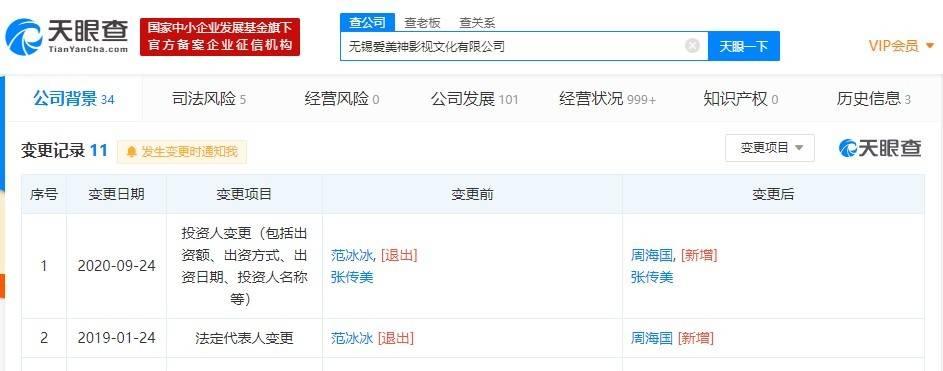 控股公司被乐视影业起诉后 范冰冰退出股东行列
