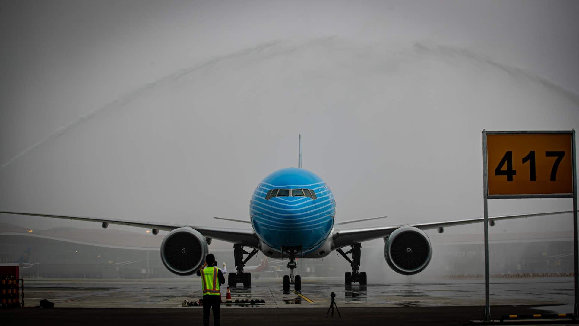 """大兴机场""""生日"""",""""进博号""""飞机来庆生图片"""
