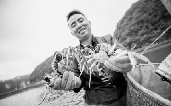 80后小伙闲置水湾养蟹助增收