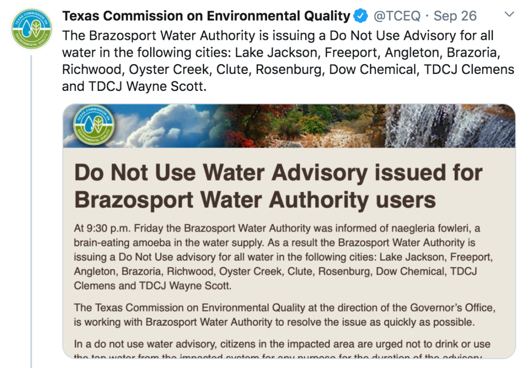 """美国再现""""食脑虫"""",得州十余地区被禁止使用水源"""