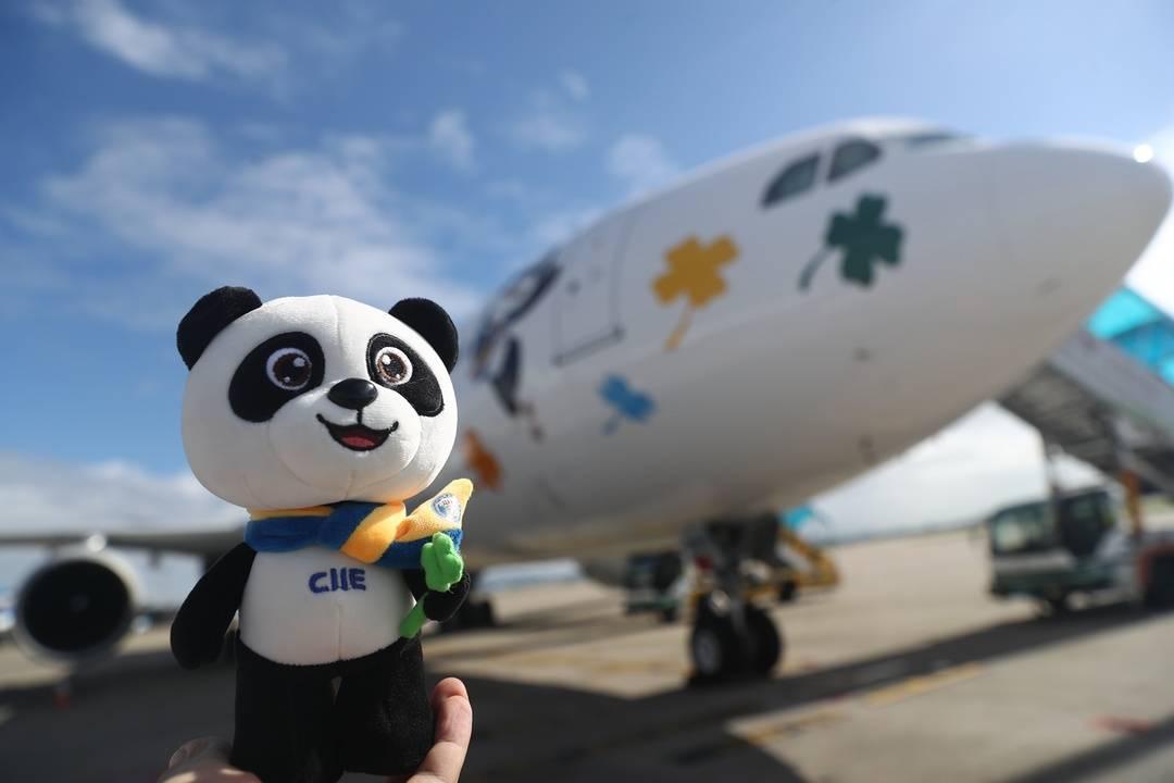 """南航""""进博号""""飞机首次亮相成都 国庆节期间可以来偶遇"""