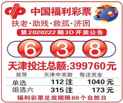 中国福利彩票第2020222期3D开奖公告