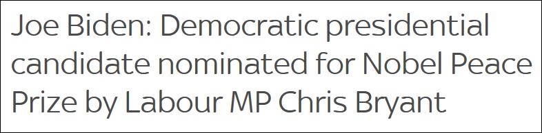 拜登被英议员提名2021年诺贝尔和平奖,将与特朗普普京共同角逐