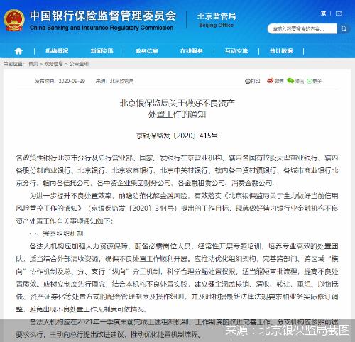 严打银行业违规倒贷、利益输送 北京明年上半年将开展不良资产处置专项督查