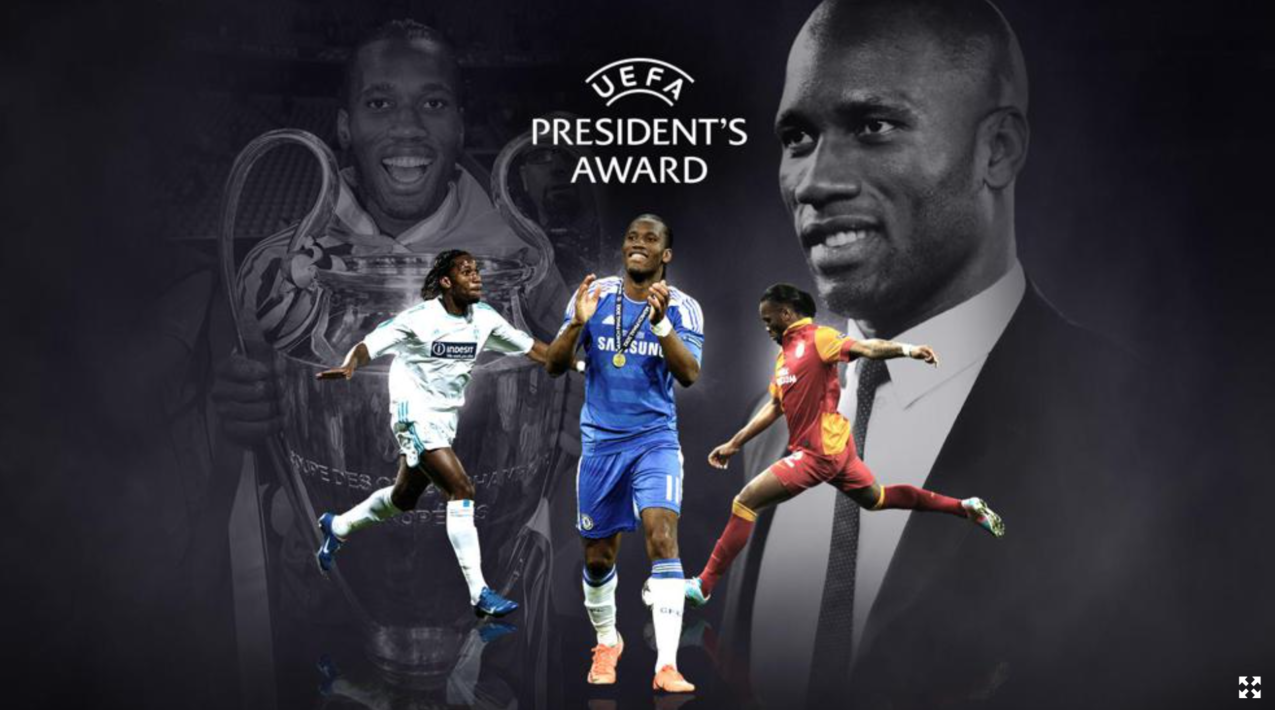 官方:德罗巴获得2020年欧足联主席奖
