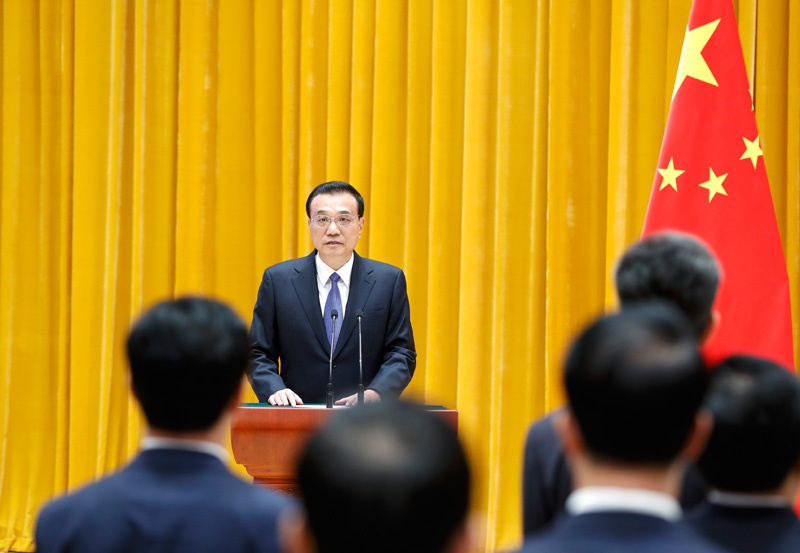 国务院举行宪法宣誓仪式,李克强总理监誓图片