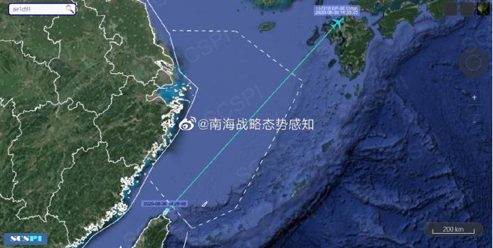 """""""南海战略态势感知计划""""平台8月30日发布的美国海军EP-3E侦察机飞行轨迹"""