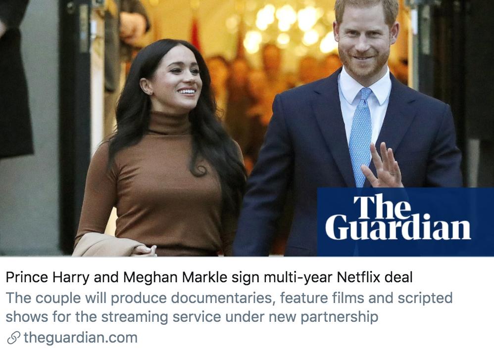 哈里梅根夫妇与网飞签署了数年的协议。/《卫报》报道截图