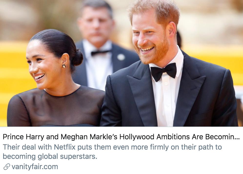 哈里梅根夫妇进军好莱坞的野心逐渐清晰。/《名利场》报道截图