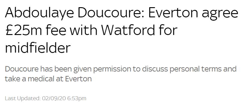 天空体育:埃弗顿敲定杜库雷,转会费2500万镑