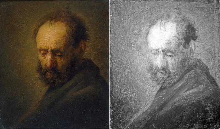 《大胡子男人头像》左图为绘画,右图为红外图像。