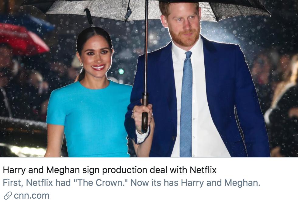 哈里梅根夫妇与网飞签署了制作协议。/ CNN报道截图